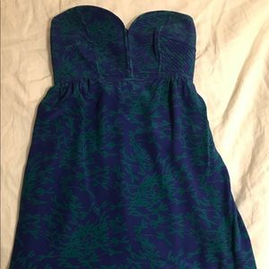 Anthropologie silk  strapless dress